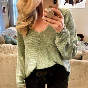 Teal V-Neck Sweater ✨